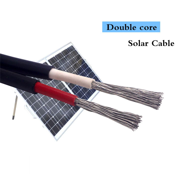 XLPE/LSZH Insulation Twin Core Solar DC Cable PV1-F Tinned Copper Wire
